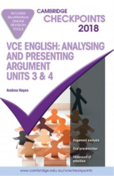 CHECKPOINTS VCE ENGLISH ARGUMENT UNITS 3&4 2018 + QUIZ ME MORE