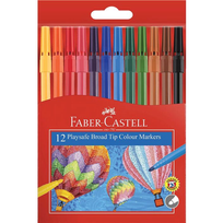 12 PACK PLAYSAFE COLOURED MARKERS FABER CASTELL